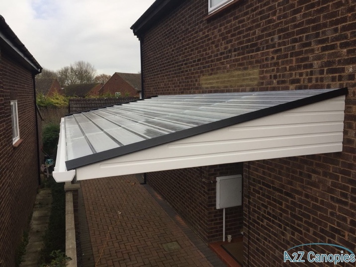 A2z Canopies White Cantilever Carport with GRP sheeting, Aluminium facia and Guttering