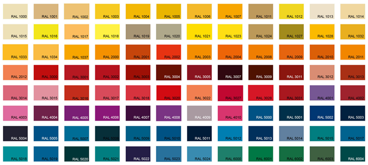 Ral colour sheet for beam colouring to request